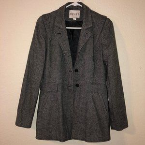 REISS Gray Herringbone Tweed Riding Jacket Blazer